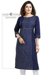 Women-Indian-Kurti-Casual-Printed-Tunic-Blue-Kurta-Shirt-Dress-SC2499