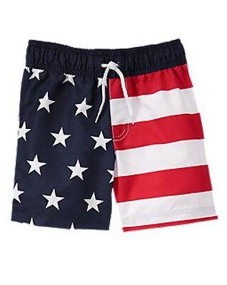 NWT Gymboree USA Patriotic American Flag Stars /& Stripes Swim Trunks Shorts 5T
