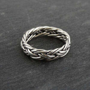 Swirl Band Ring Openwork Filigree Ring Ring Size 6 Braided Pebbled Ring Boma Sterling Ring 925 Silver Scroll Ring Rope Design Ring