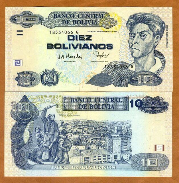 Bolivia, 10 Bolivianos, L. 1986 (2005) P-228, Serie G, UNC