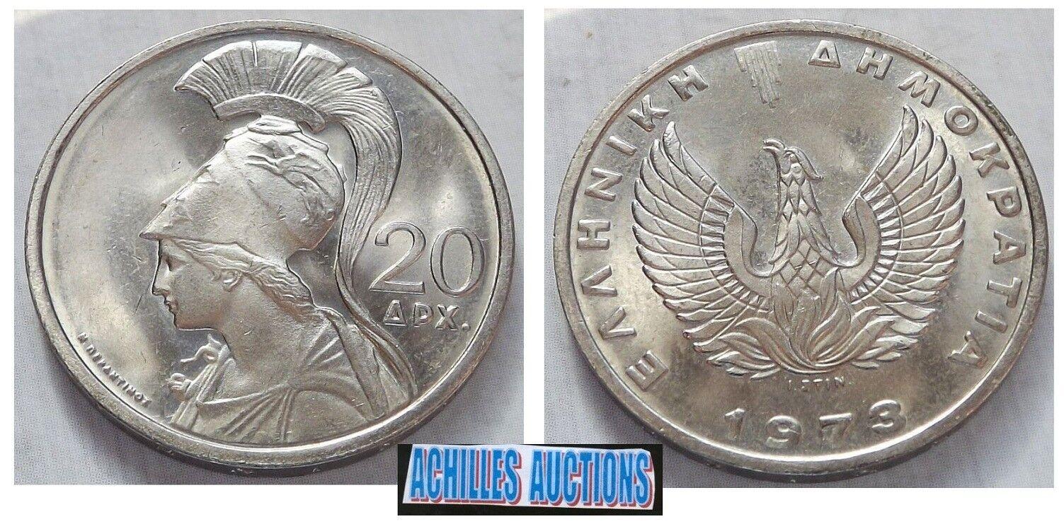 Greek Military JUNTA 1 drachma Greek Coin 1973 UNC RRR OWL PHOENIX Greece