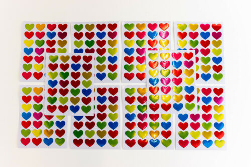28 bunte Herzen glänzend 1-20 Sticker Aufkleber Liebe Hochzeit basteln Kinder