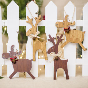 Christmas Wood Crafts.Details About Christmas Wooden Crafts Christmas Bow Elk Bell Decoration Pendant Listing Gx