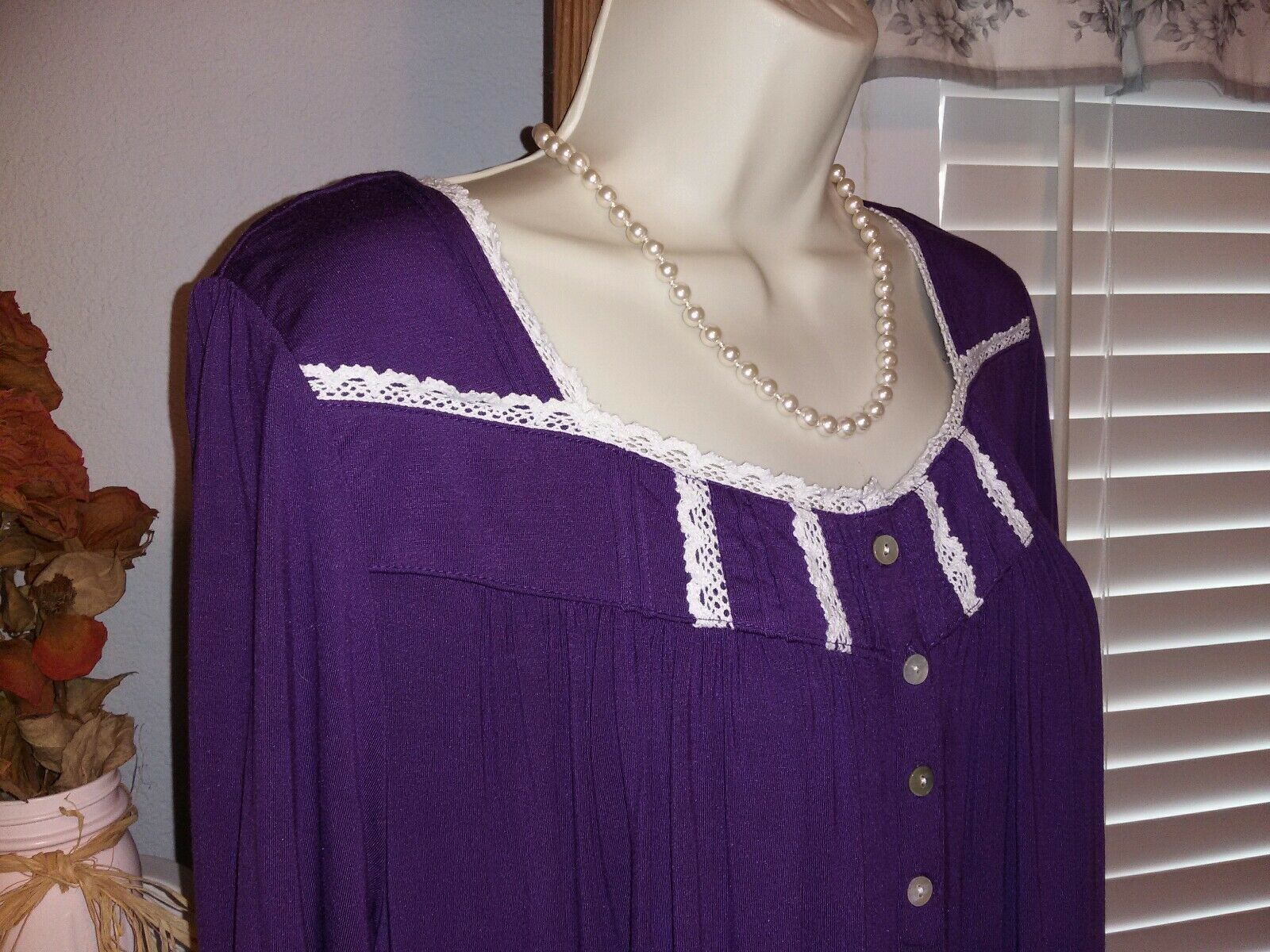 NWT M Medium Eileen West Nightgown Micro Modal Knit Gown LONG NEW  70 Purple