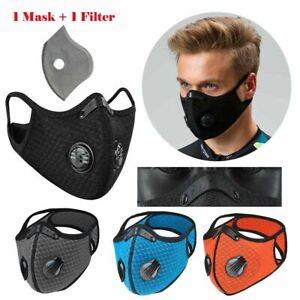 Reusable Washable Neoprene Air Ventilation port Face Mask +PM2.5 1 Carbon Filter