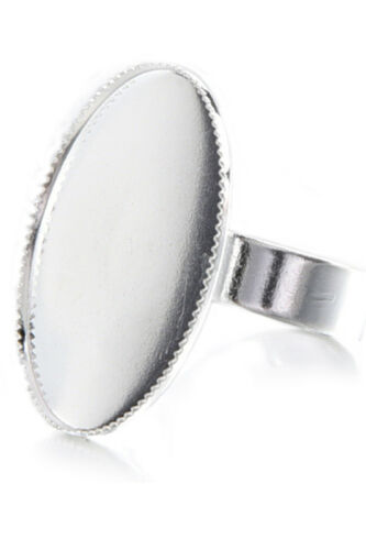10 Adjustable Oval Cabochon Rings Support silver 18.3mm  S4Y9 1X