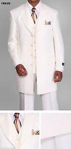 """Men/'s 3 piece Milano Moda 35/"""" Zoot Suit with Herring bone Design Suit 3106 Brown"""