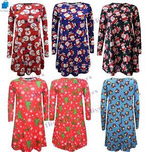 325437d10a Image is loading Kids-Girls-CHRISTMAS-Swing-Dress-Santa-Snowflake-CHILDREN-