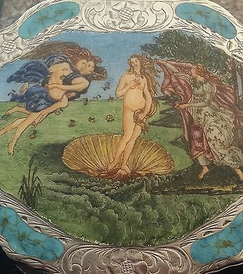 Rare Vintage Euro Hand Painted Enamel 800 Silver Compact The Birth of Venus