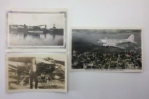 Lot-Of-3-Sepia-Vintage-Photographs-Man-Float-Air-Plane-Water-City-Photos-F088