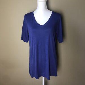 J-Jill-Blue-100-Pima-Cotton-Elbow-Sleeve-Tunic-Top-V-neck-Size-PM