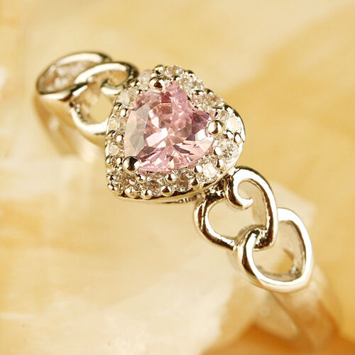 Heart-Pink-White-Topaz-Gemstone-Silver-Fashion-Women-Ring-Sz-6-7-8-9-10-11-12-13
