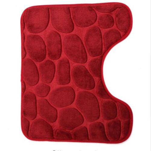 3Pcs Soft Anti-Slip Home Stone Pattern Bathroom Set Rug Contour Mat Toilet Lid