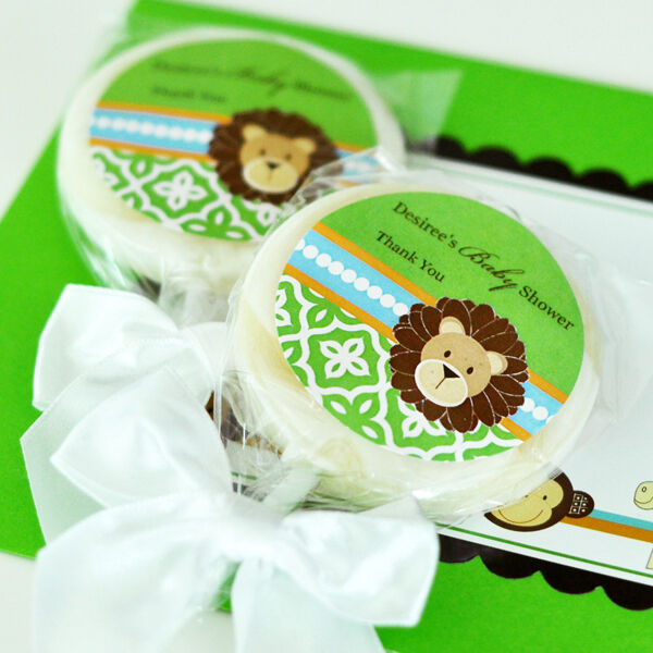 24 Jungle Safari Lollipops Personalized Lollipop Baby Shower Birthday Favors