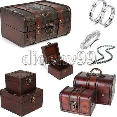 Multi Vintage Jewelry Necklace Bracelet Gifts Box Storage Organizer Wooden Cases
