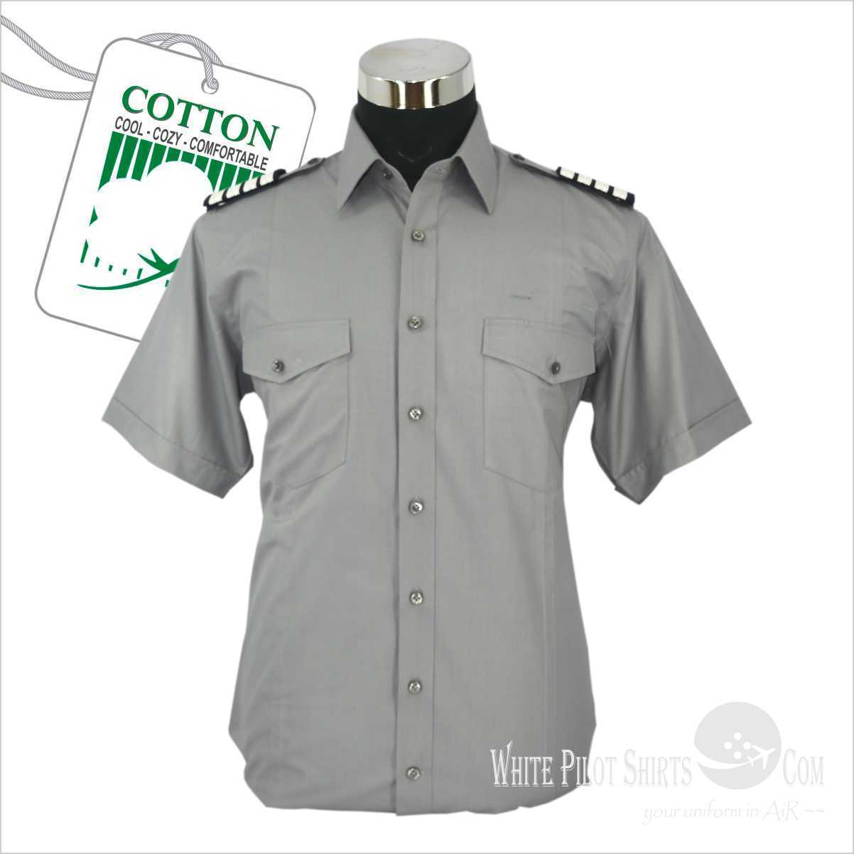 Grau Pilot Shirts for Men 100% Cotton Aviator Uniforms Pilot supplies Aviation