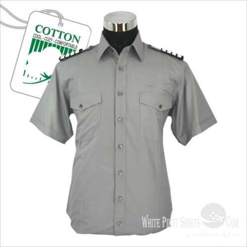 Da Aviator Pilota 100 Forniture Camicie Cotton Uniformi Uomo Aviazione Grigio qf7En