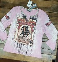 Women's Vanilla Sugar Western Cowgirl Rodeo Long Sleeve Shirt Size M (d1)