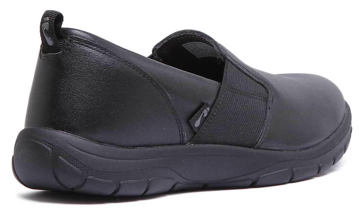 Se esfuerzan Stowe Mujer de Zapatillas Cuero Negro Resbalón en Zapatillas de Talla UK 3 - 8 d55502
