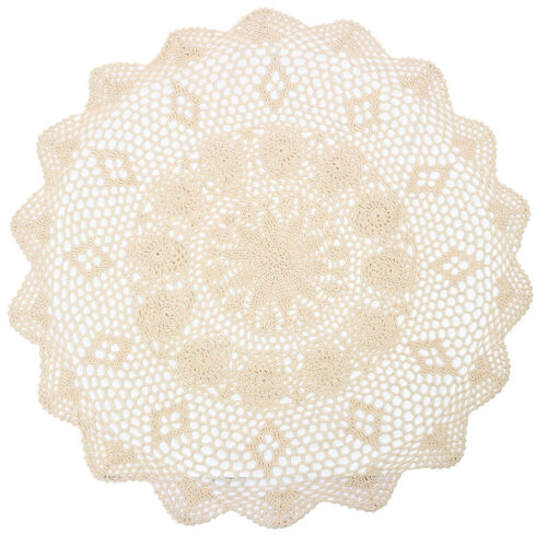 Vintage Lace Tablecloth Hand Crocheted Cotton Floral Table Cloth Cover Round