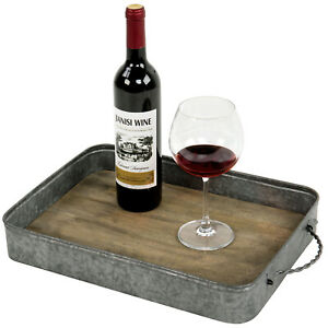 MyGift Rustic Silver Galvanized Metal and Vintage Brown Solid Wood Serving Tray