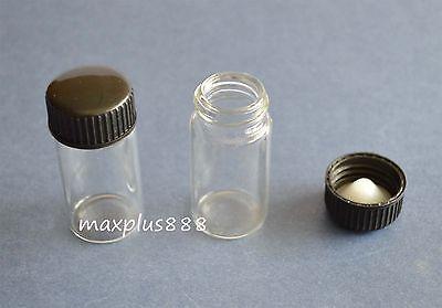 5pcs 30ml Empty Sample Vials Clear Glass Bottles With Black Plastic Cap