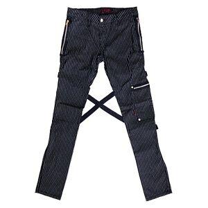 Tripp-NYC-Gothic-Horror-Mens-Chaos-Black-Pinstripe-Bondage-Pants-Jeans-Size-28
