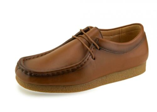 New Boys Wallabee Leather Tan Brown School Smart Formal Lace Up Shoes 3 4 5 6 7