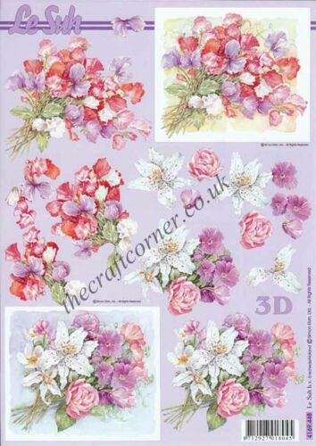 Flowers Bouquets 3D Decoupage Sheet Card Making Paper Crafts CUTTING REQUIRED