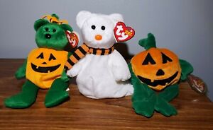 Ty Beanie Babies Lot Halloween Theme - Tricky 2003, Pumkin' 1998, Quivers 2003