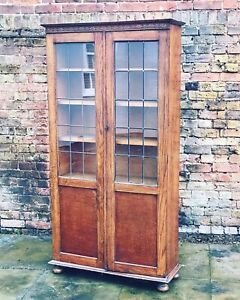 Edwardian-1920-s-Light-Oak-Bookcase-With-Adjustable-Shelves