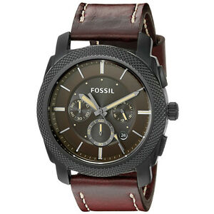 Fossil-Men-039-s-FS5121-Machine-Chronograph-Stainless-Steel-Case-Brown-Leather-Watch