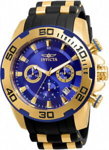 Invicta-Men-039-s-Pro-Diver-Chrono-100m-Stainless-Steel-Black-Silicone-Watch-22313