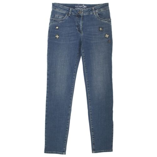 21623 GERRY WEBER Damen Jeans Hose KHAKI DELUXE Stretch Slim blue glas blau