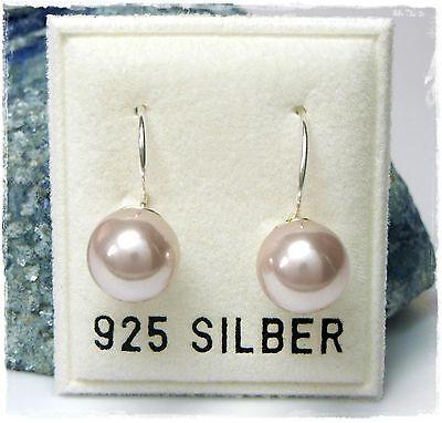 Nuovo Argento 925 Orecchini 8mm Perle Rosa/rosa Chiaro Perline Orecchini Perla Orecchini-mostra Il Titolo Originale Prezzo Basso