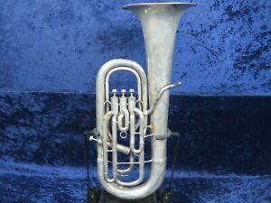 Juste . Vintage Holton 4 Vanne Lp Silver Euphonium Ser#40274 Joue Très Bien *-afficher Le Titre D'origine