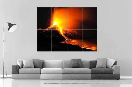 Volcano Eruption Erupting Volcanic Wall Art Poster Great Format A0 Wide Print
