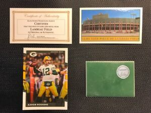 Green-Bay-Packers-Game-Used-Piece-of-Lambeau-Field-amp-Aaron-Rodgers-Card