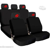 4x Red Lips Logo Headrest And Black Fabric Seat Covers For Ford