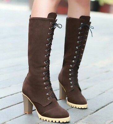 fashion women's lace-up High-heeled Shoes Knee-High Knight Martin boots shoes
