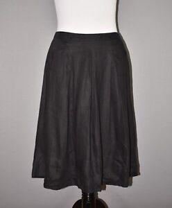 TALBOTS-128-Black-Linen-Pleated-Full-Skirt-Below-The-Knee-Size-12