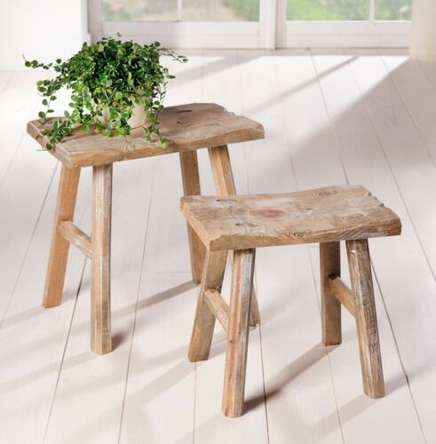 "2 Holz Hocker /""Rustikal/"" im Antik Stil Garten Blumen Ständer Deko Bank Shabby"
