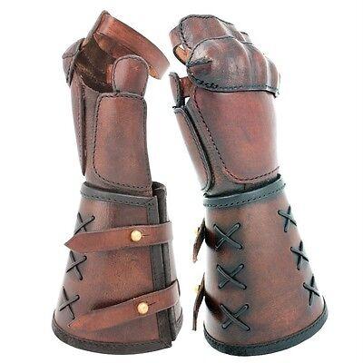 MEDIEVAL GOTHIC KNIGHT RENAISSANCE Brown Black Leather HAND GAUNTLET GLOVE 1 Pc
