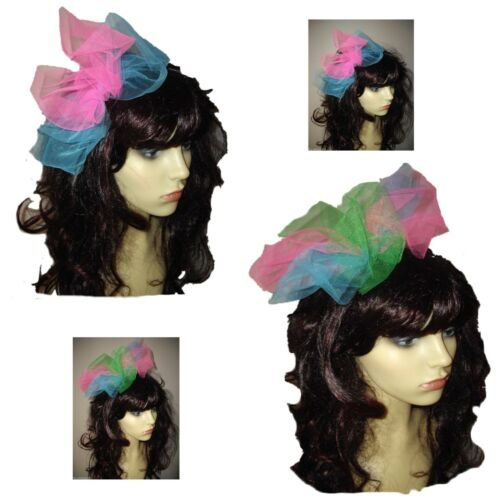 LARGE BOW Pink,Green,Turquoise 80s Alice Band 80s Fancy Dress Hen Party