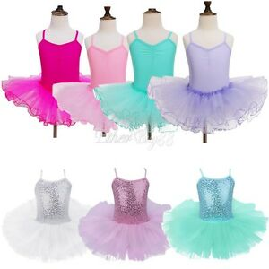 Girl Sleeveless Princess Dance Dress Ballet Leotard Skirt Dancewear Tutu Clothes