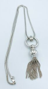 Authentic-TIFFANY-amp-Co-Tassel-Chain-Necklace-29-Sterling-Silver-925-w-BOX