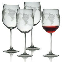 Wine Glasses Sonoma Grape Set/4 Hand Made Sand Etched Gifts Grape Designs