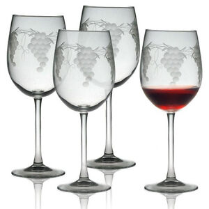 Wine Glasses Sonoma Grape Set 4 Hand Made Sand Etched