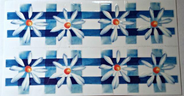 Blue Flowers Permanent Rub On Border Transfers Decal Tile Ceramic Glass DB01
