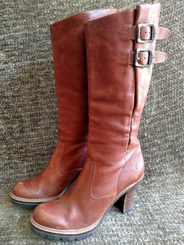 Frye Mildred English pull on high-heel high-heel on Chestnut Saddle leather 16